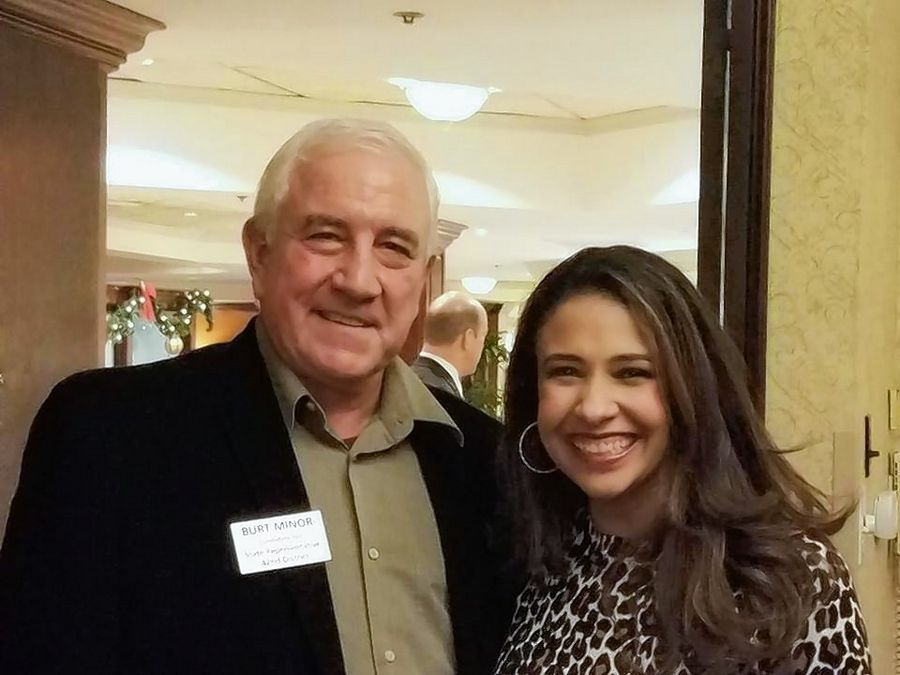 Republican primary candidates, Burt Minor, for Illinois state representative in District 42, left, and Erika Harold, for state attorney general, posed together at an event last December for this photo posted on Minor's Facebook page.