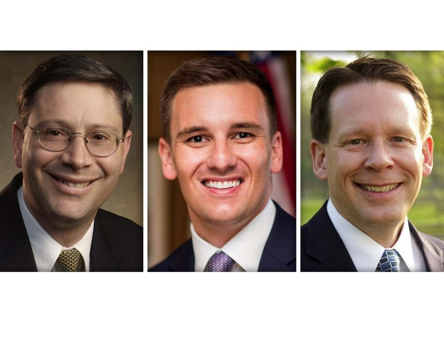 From left, Greg Abbott, Greg Hart and Martin Tully are Republican candidates for DuPage County Board District 3