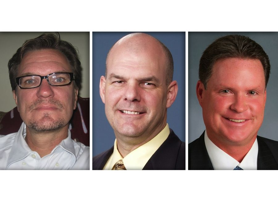 "From left, Sean M. McQuade, Kevin Wiley, James F. ""Jim"" Zay are Republican candidates for DuPage County Board District 6 in DuPage County."