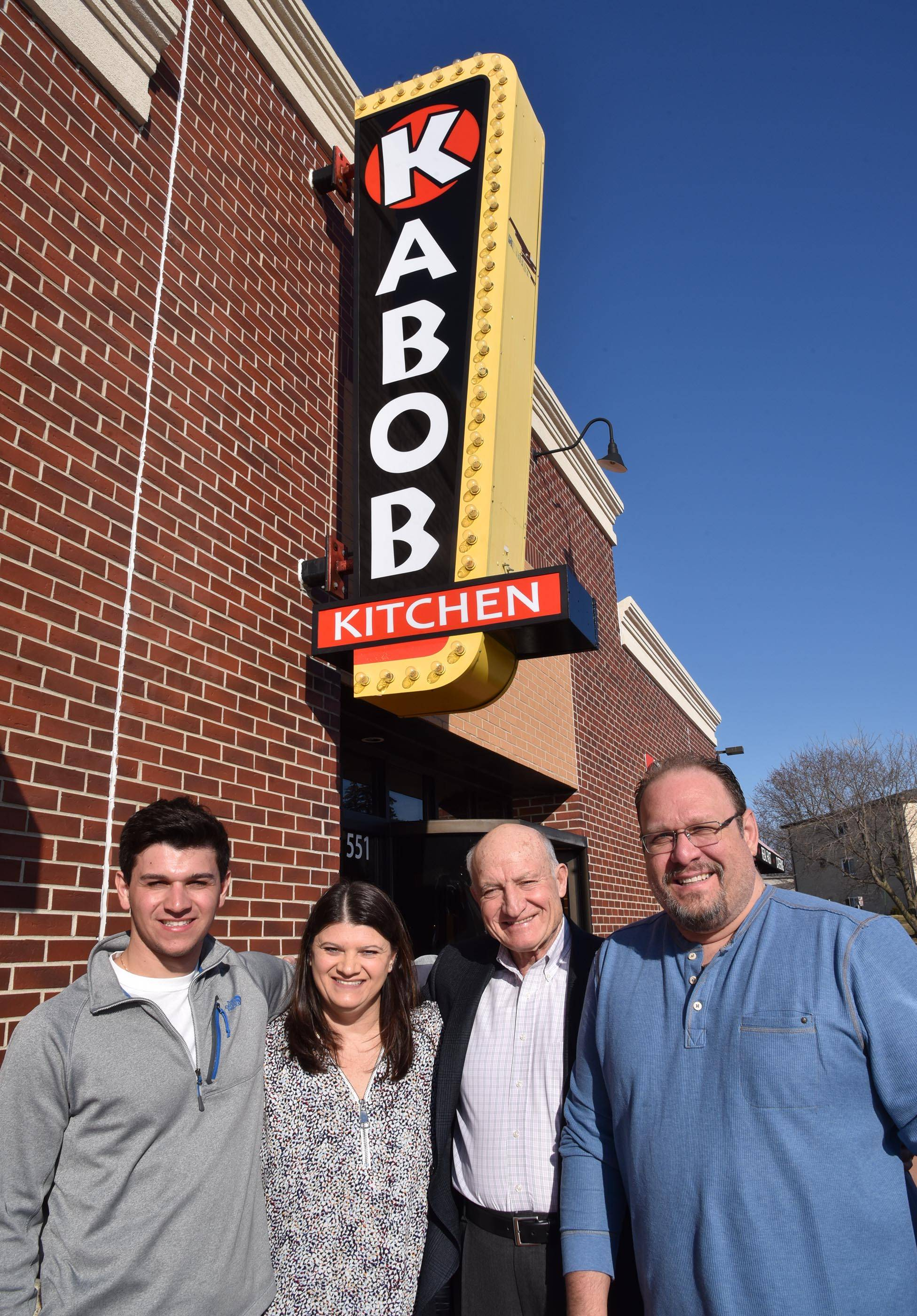 Three generations of family will operate Kabob Kitchen, which is expected to open in mid-March at the former Maxwell's Hot Dogs in West Dundee. From left are Adam Cardaras, Dina Cardaras, Jimmy Panagakis, and George Kyriazis.