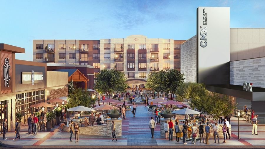 A rendering shows plans for a CMX Cinemas movie theater, City Works Eatery and Pour House, Starbucks and Inland Bank at the Wheeling Town Center.