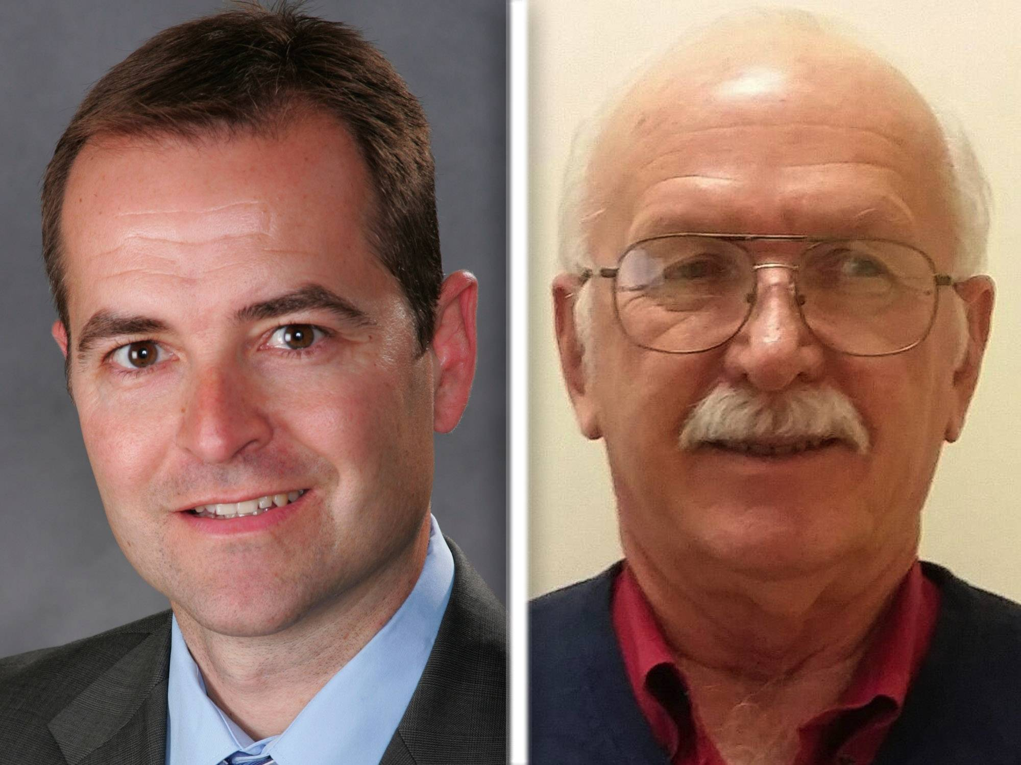 Jim Patrician, left, and Jonathan Radke, right, are Republican candidates for Kane County Board, Dist. 23