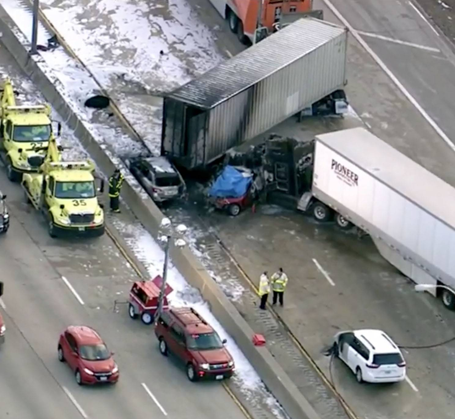 A seven-vehicle crash that killed an Indiana man on Interstate 290 near Elmhurst had all eastbound lanes of the Eisenhower Expressway closed at St. Charles Road from 2 p.m. Thursday until Friday morning.