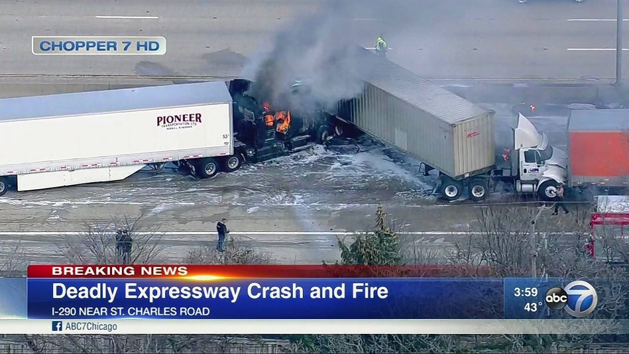 A multivehicle crash killed an Indiana man on inbound Interstate 290 near Elmhurst, the Cook County medical examiner's office announced.