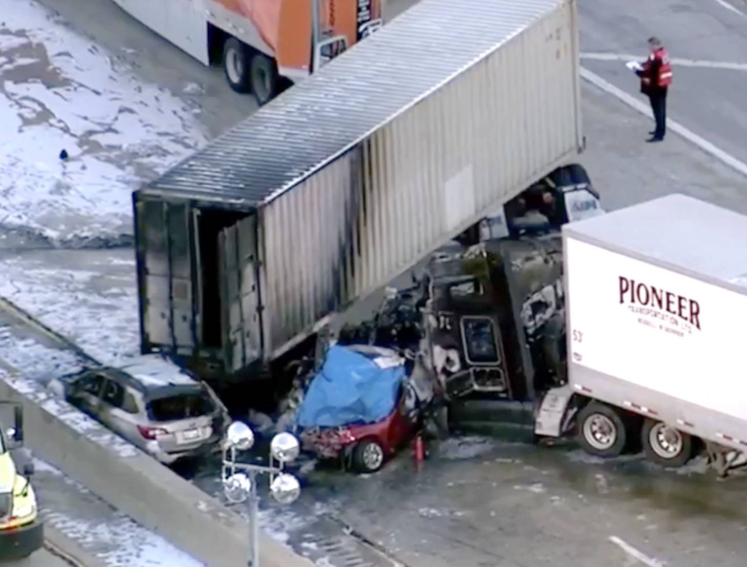 A seven-vehicle crash killed a Munster, Indiana, man on inbound Interstate 290 at St. Charles Road, accoridng to the Cook County medical examiner's office.