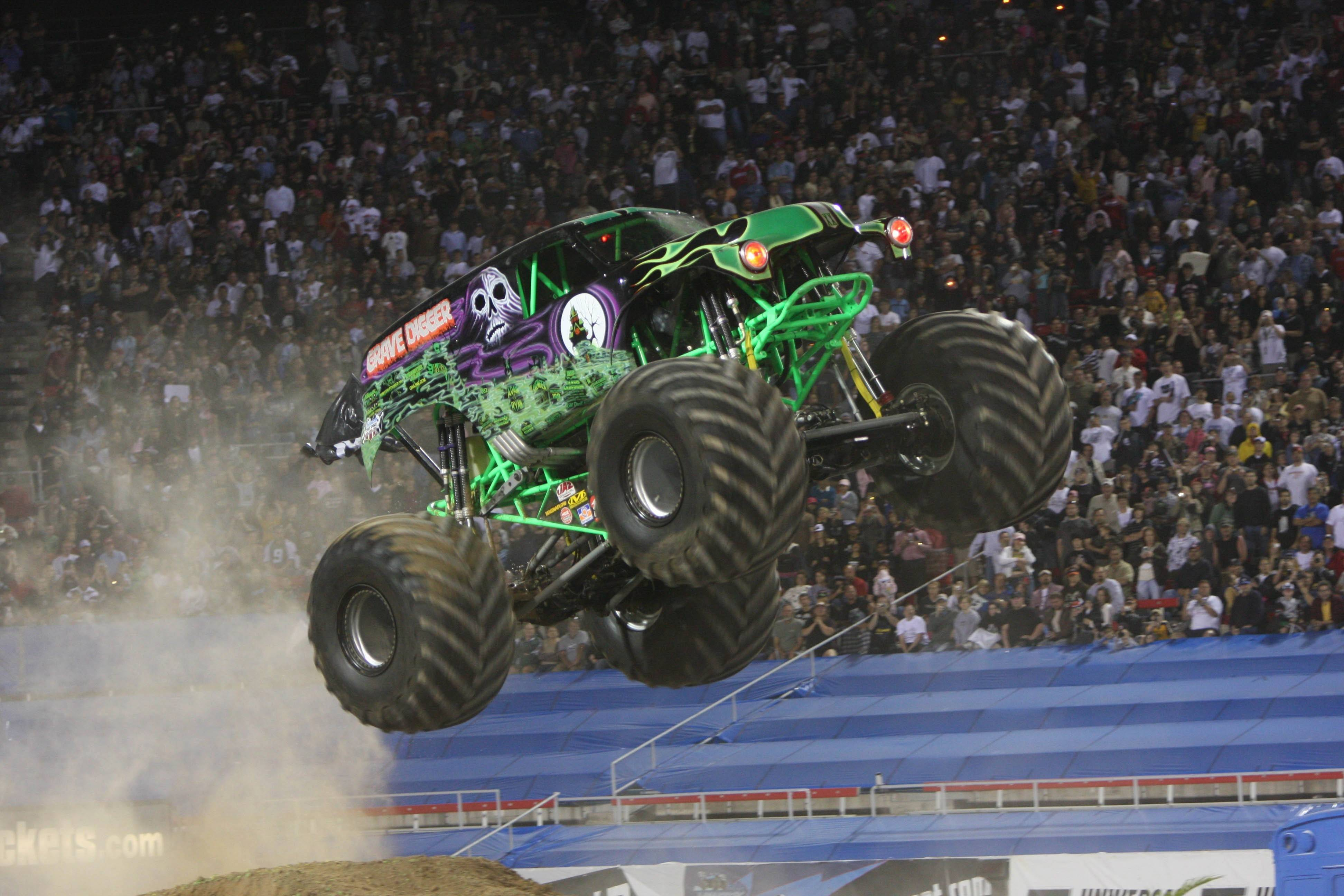 The Grave Digger jumps into action at the Monster Jam Triple Threat Series at the Allstate Arena in Rosemont.
