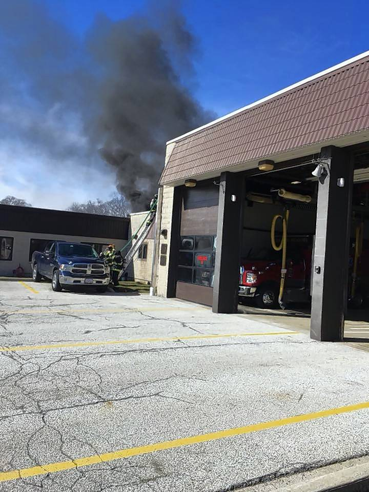 Smoke billows from the roof of Rolling Meadows Fire Station 16 Friday afternoon. Only minor damage was reported, and no one was injured.