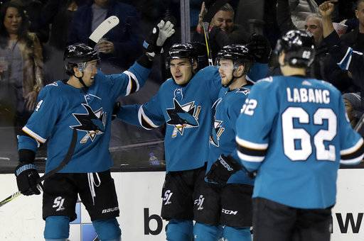 San Jose Sharks' Timo Meier, second from left, celebrates with teammates after scoring against the Chicago Blackhawks during the second period of an NHL hockey game Thursday, March 1, 2018, in San Jose, Calif.