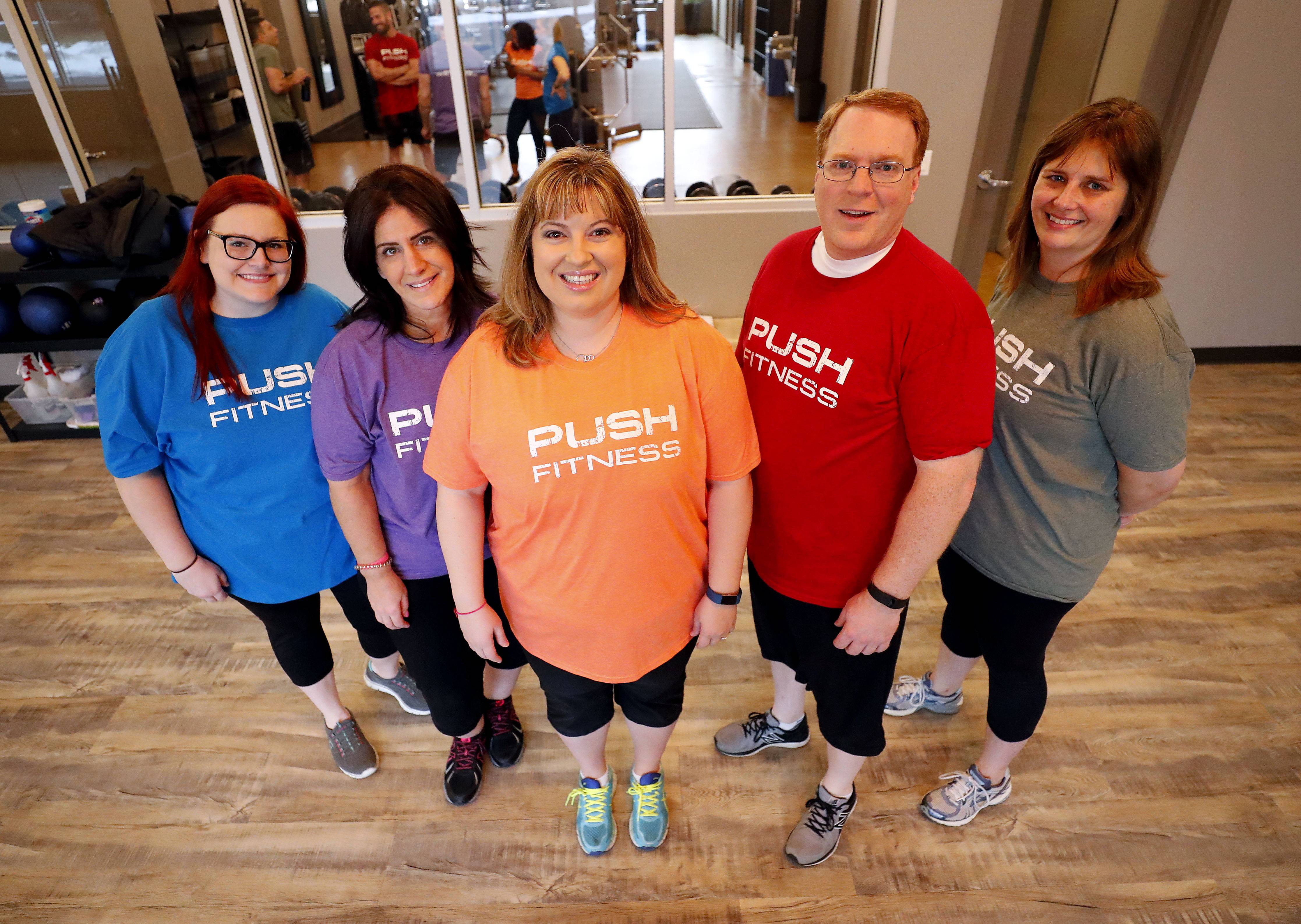 Meet the 2018 Fittest Loser contestants: Kimberly Rosewell, left, of Roselle, Nicole Mueller of Schaumburg, Shelly Daley of Arlington Heights, Chad Lowry of Mount Prospect and Kirsten Binder of Schaumburg.