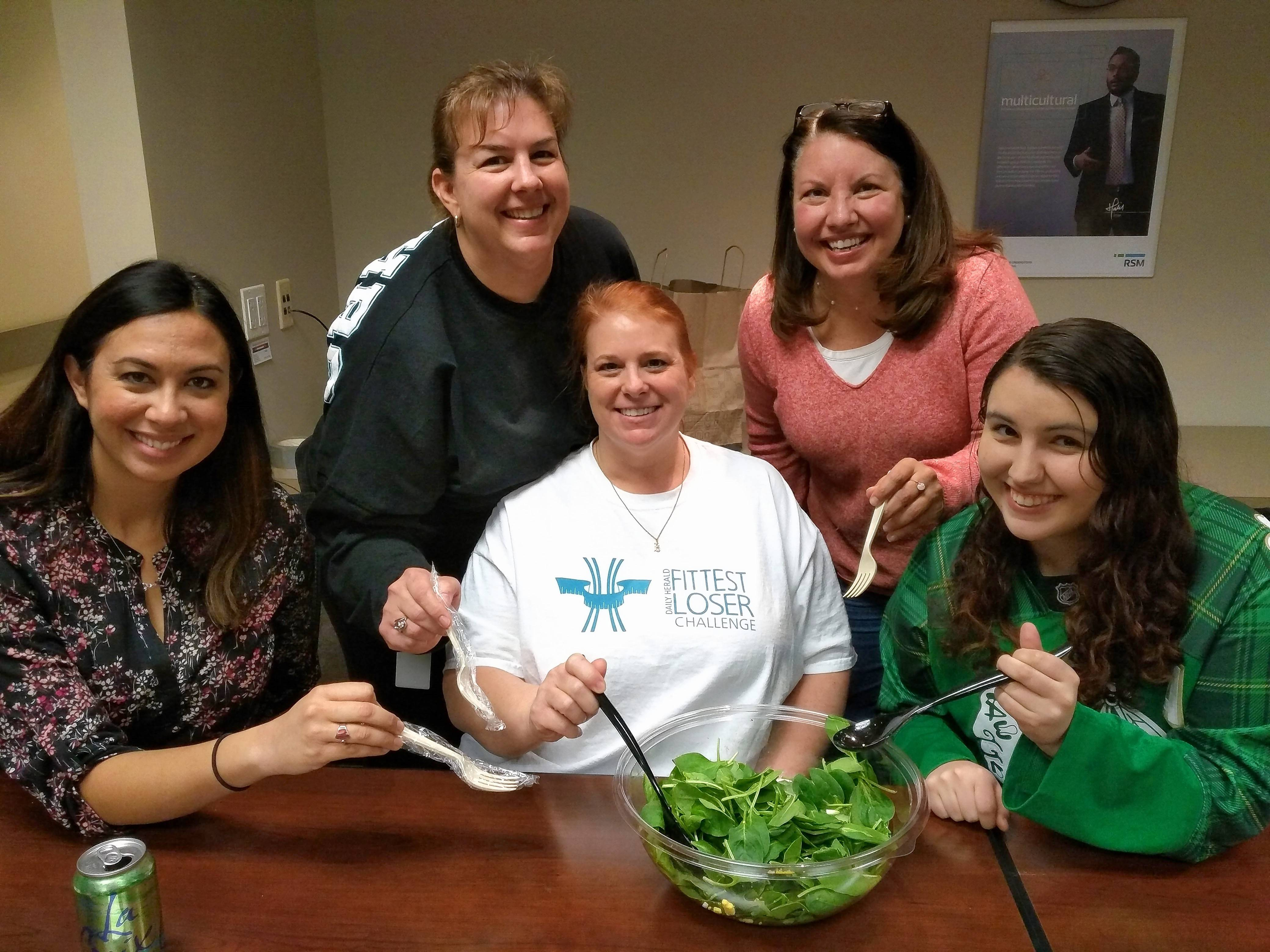 "Brooke Truman, Heather Winandy, Kelsey Bowen, Sara Jacobson, and Samantha Becker of Team RSM - 0BS lbs are enjoying healthy greens, and are sticking with their challenge goal to ""change eating habits."""