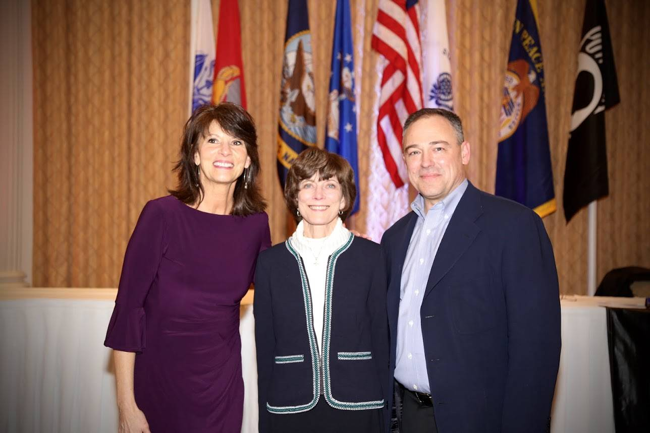 SALUTE, INC. co-founders Mary Beth and Will Beiersdorf (left and right) are joined by guest speaker Karen Pederson at a recent SALUTE, INC. celebration.