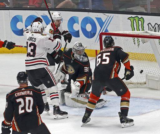 Chicago Blackhawks left winger Tomas Jurco (13) celebrates his goal against Anaheim Ducks goalie John Gibson (36) and defenseman Marcus Pettersson (65) in the second period of an NHL hockey game in Anaheim, Calif., Sunday, March 4, 2018.