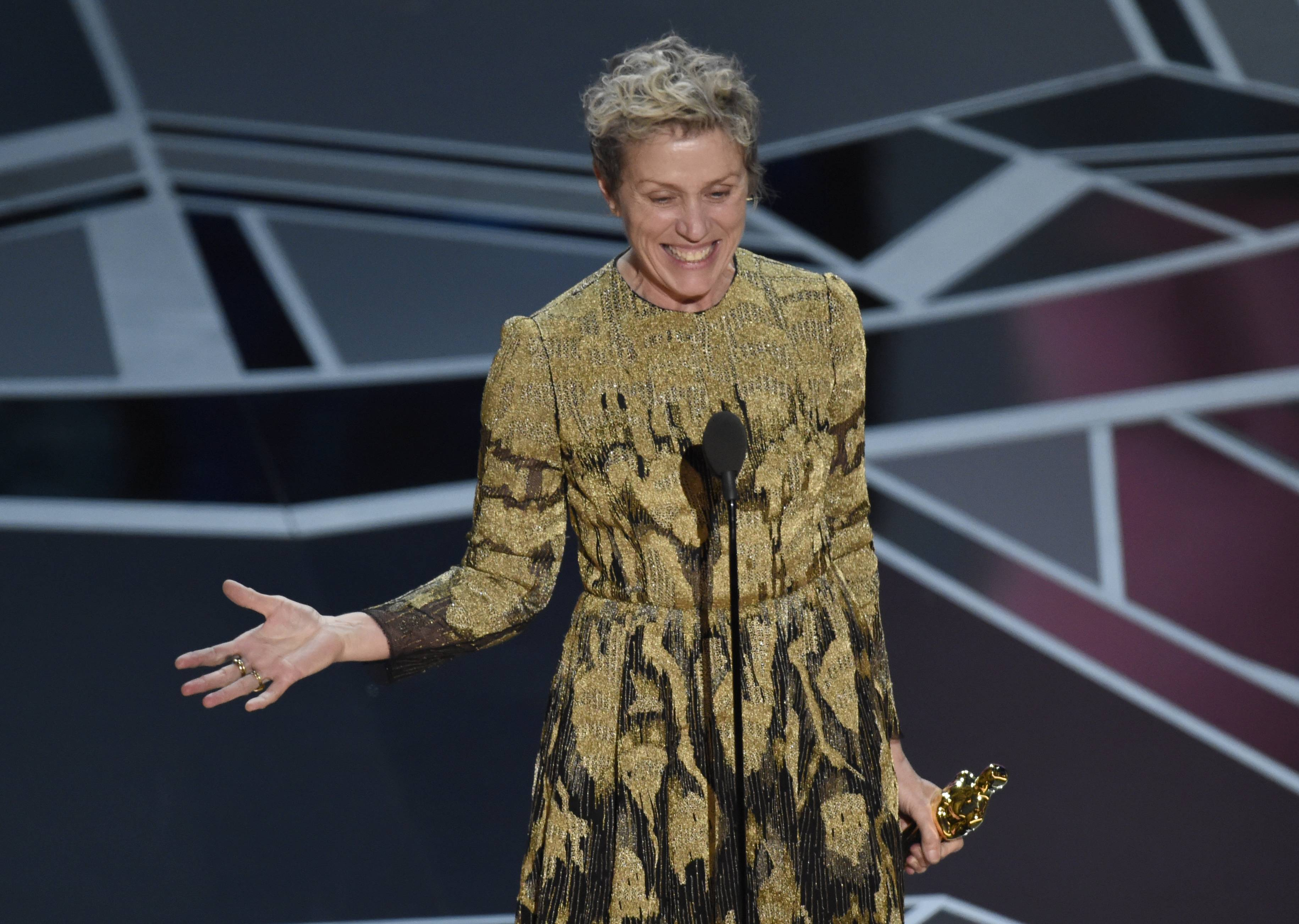 "Frances McDormand asked all the nominated women in the room to stand as she accepted the Best Actress Academy Award for ""Three Billboards Outside Ebbing, Missouri"" Sunday."