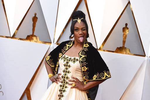 Tiffany Haddish arrives at the Oscars on Sunday, March 4, 2018, at the Dolby Theatre in Los Angeles.