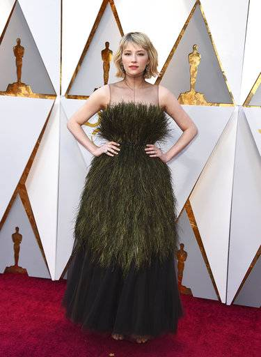 Haley Bennett arrives at the Oscars on Sunday, March 4, 2018, at the Dolby Theatre in Los Angeles. (Photo by Jordan Strauss/Invision/AP)