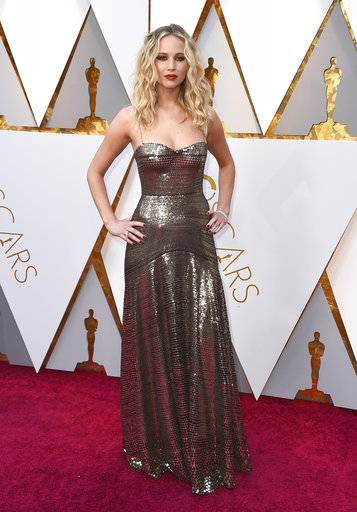 Jennifer Lawrence arrives at the Oscars on Sunday, March 4, 2018, at the Dolby Theatre in Los Angeles. (Photo by Jordan Strauss/Invision/AP)