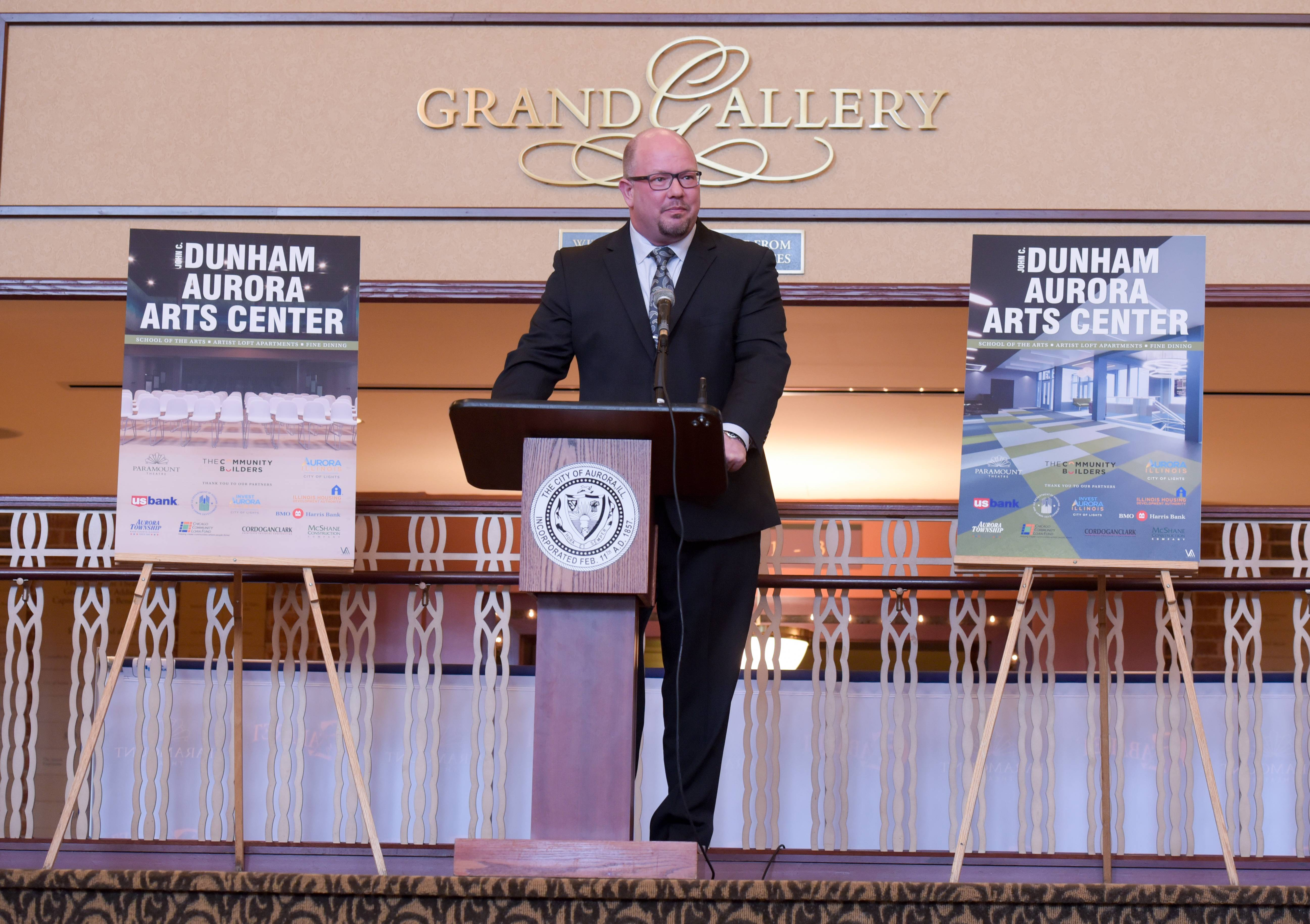 "Tim Rater, president and CEO of the Paramount Theatre in downtown Aurora, says a new rehearsal space under construction at the future John C. Dunham Aurora Arts Center will allow the theater to start an ""adventurous secondary series"" across the street at the Copley Theatre."
