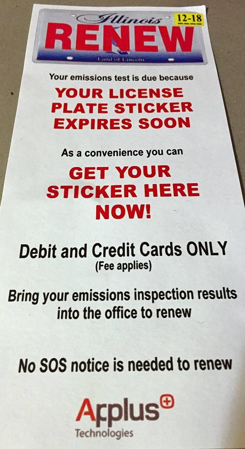 pairing emissions test, sticker renewal is convenient -- for a fee