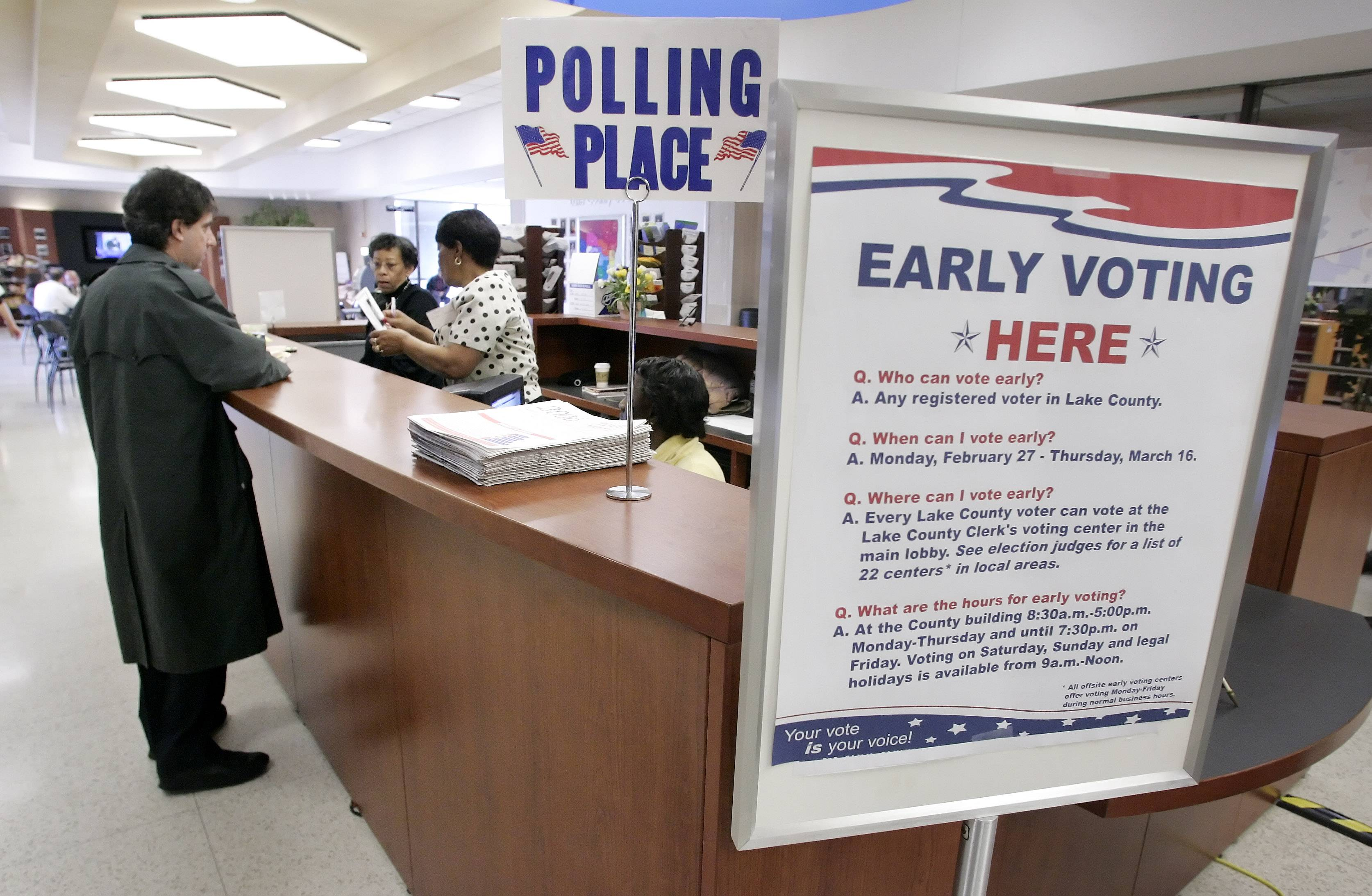 Early voting begins today at many locations across the suburbs.