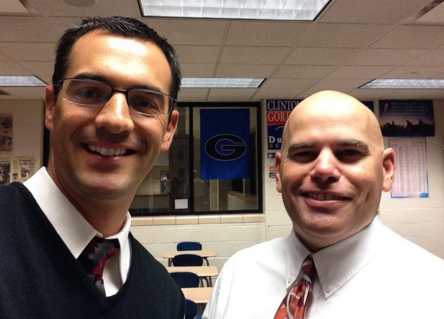 When Geneva High School math teacher Ryan Estabrook, left, starting wearing neckties on Mondays, social studies teach Matt Hahn, right, originally teased him. Now the pair are the founding members of a club that goes by the Twitter handle of @GenevaTiekings.