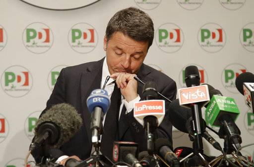 Democratic Party leader Matteo Renzi holds a press conference on the election results, in Rome, Monday, March 5, 2018. With the anti-establishment 5-Stars the highest vote-getter of any single party, the results confirmed the defeat of the two main political forces that have dominated Italian politics for decades - Forza Italia and the center-left Democrats - and the surging of populist and right-wing, euroskeptic forces that have burst onto the European scene. (AP Photo/Alessandra Tarantino)