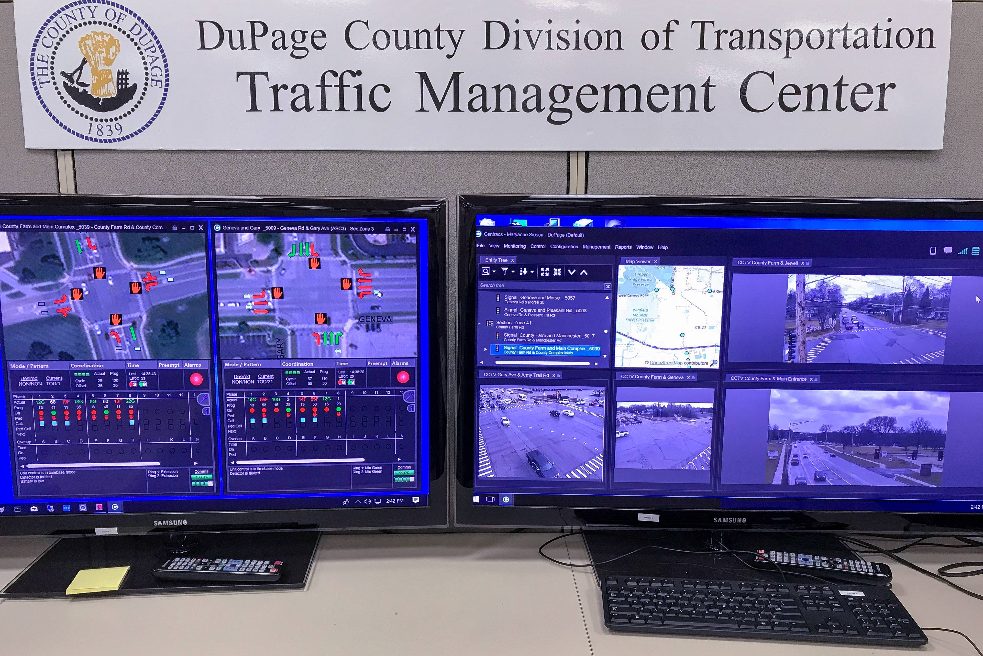 DuPage County officials can monitor traffic from two locations, including the department of transportation office, above, and the highway maintenance building.