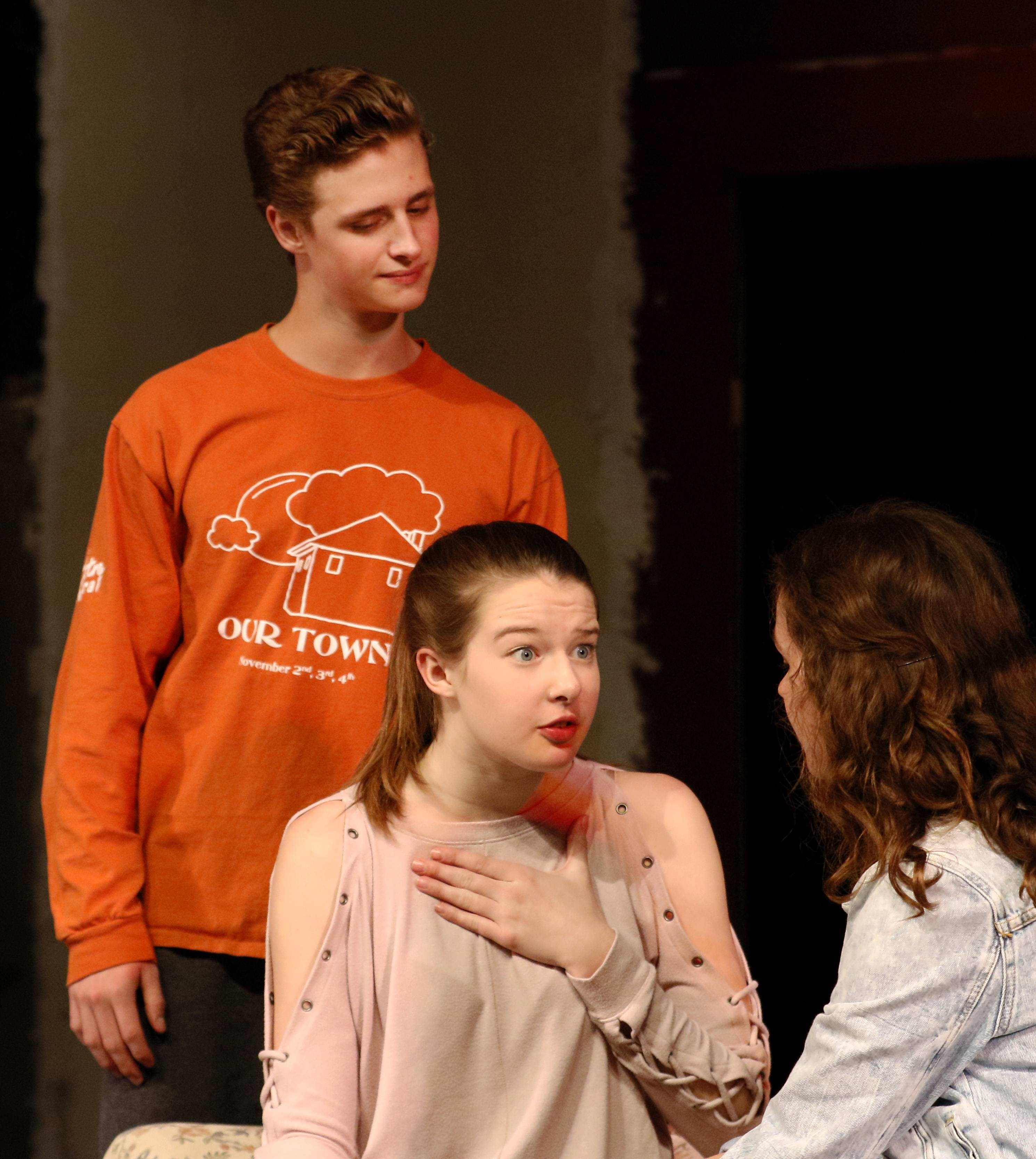 "Members of the Theatre Central club at Naperville Central High School rehearse ""The Game's Afoot."""