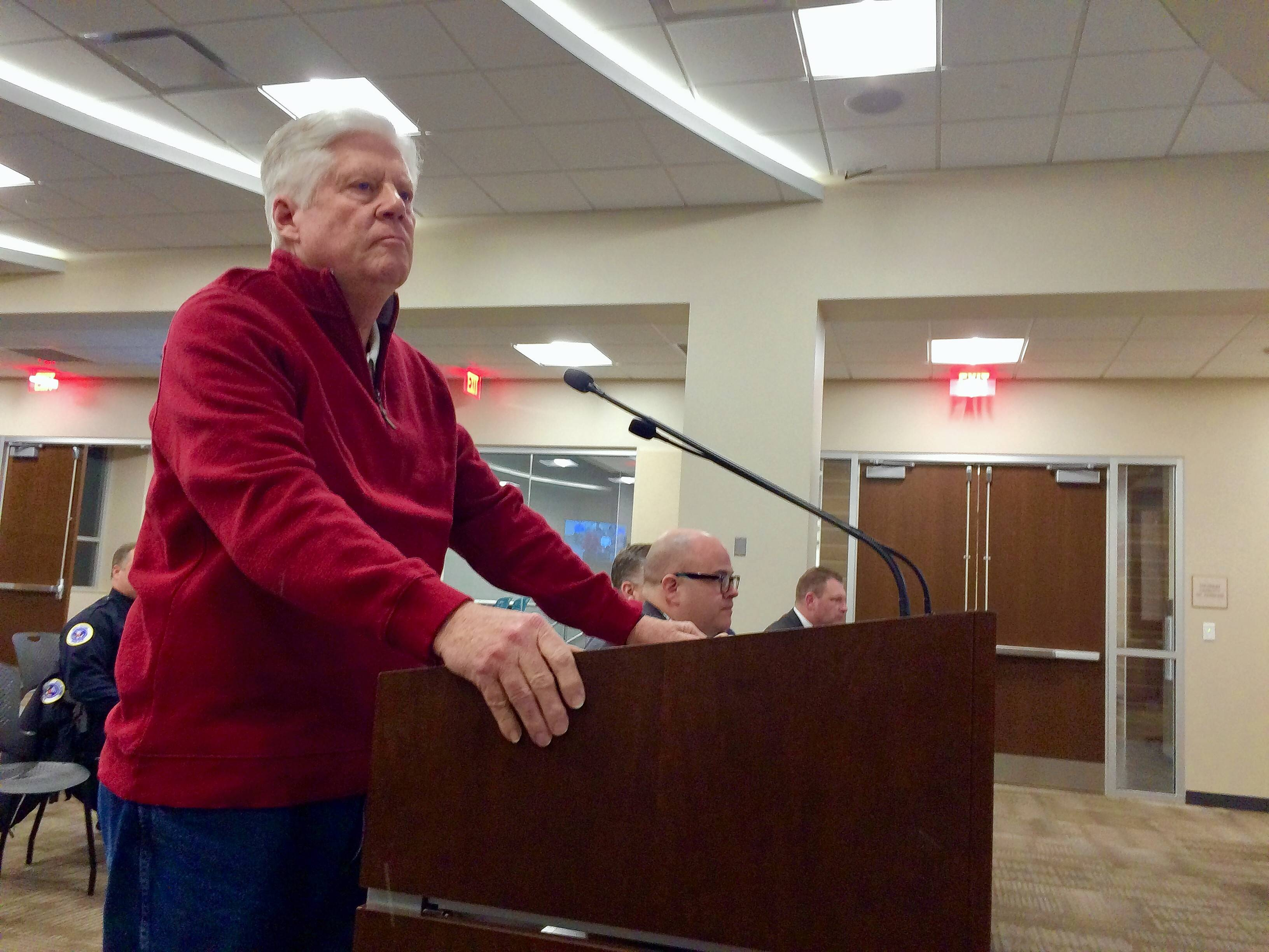Rick Larson, a resident on Whippoorwill Lane in Palatine, represented several homeowners who objected to a treehouse plan for their block at Monday night's village council meeting.