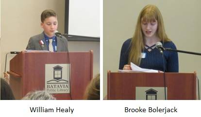 Einstein Academy students William Healy and Brooke Bolerjack read their winning essays at a recent meeting of the Elias Kent Kane Chapter of the National Society of Daughters of the American Revolution.