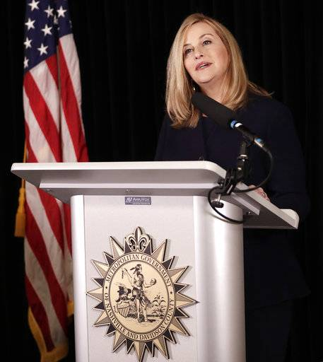 Nashville Mayor Megan Barry announces her resignation Tuesday, March 6, 2018, in Nashville, Tenn. Barry resigned after admitting she had an extramarital affair with her lead bodyguard and shortly after pleading guilty to a felony theft charge.