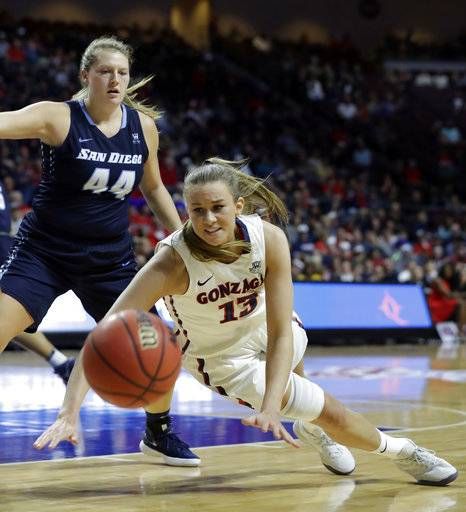 Gonzaga's Jill Barta (13) reaches for a loose ball covered by San Diego's Sydney Williams during the first half of the West Coast Conference tournament championship NCAA women's college basketball game Tuesday, March 6, 2018, in Las Vegas.