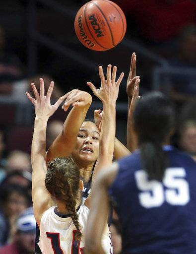 San Diego's Aubrey Ward-El passes the ball during the first half of the West Coast Conference tournament championship NCAA women's college basketball game against Gonzaga' Tuesday, March 6, 2018, in Las Vegas.