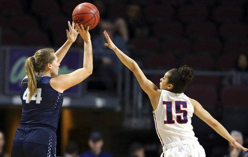Gonzaga's Jessie Loera (15) covers a shot by San Diego's Sydney Williams (44) during the first half of the West Coast Conference tournament championship NCAA women's college basketball game Tuesday, March 6, 2018, in Las Vegas.