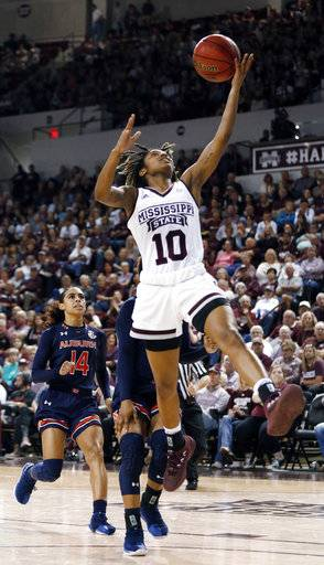 Mississippi State guard Jazzmun Holmes (10) attempts a layup against Auburn during the second half of an NCAA college basketball game in Starkville, Miss., Thursday, Feb. 22, 2018. Mississippi State won 82-61.