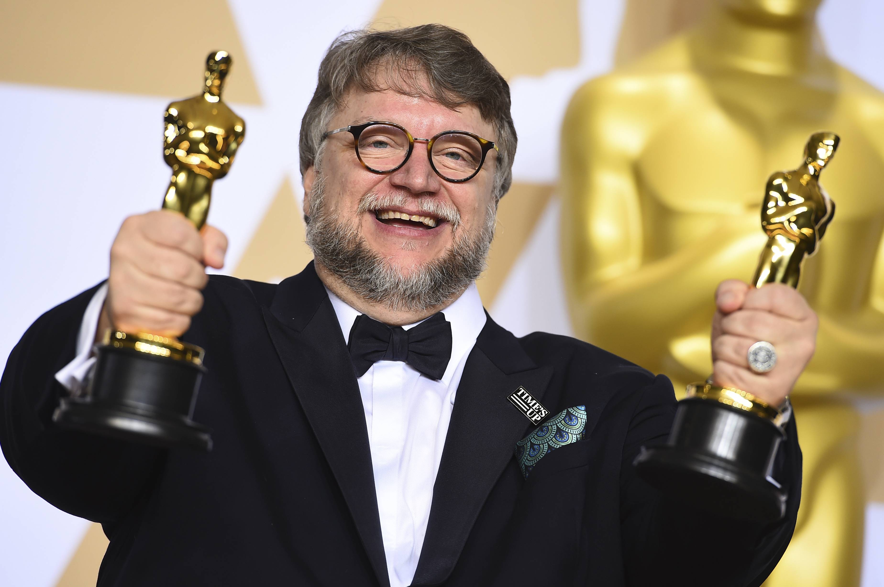 "Guillermo del Toro, winner of the awards for best director and best picture for ""The Shape of Water,"" poses in the press room at the Oscars on Sunday, March 4."