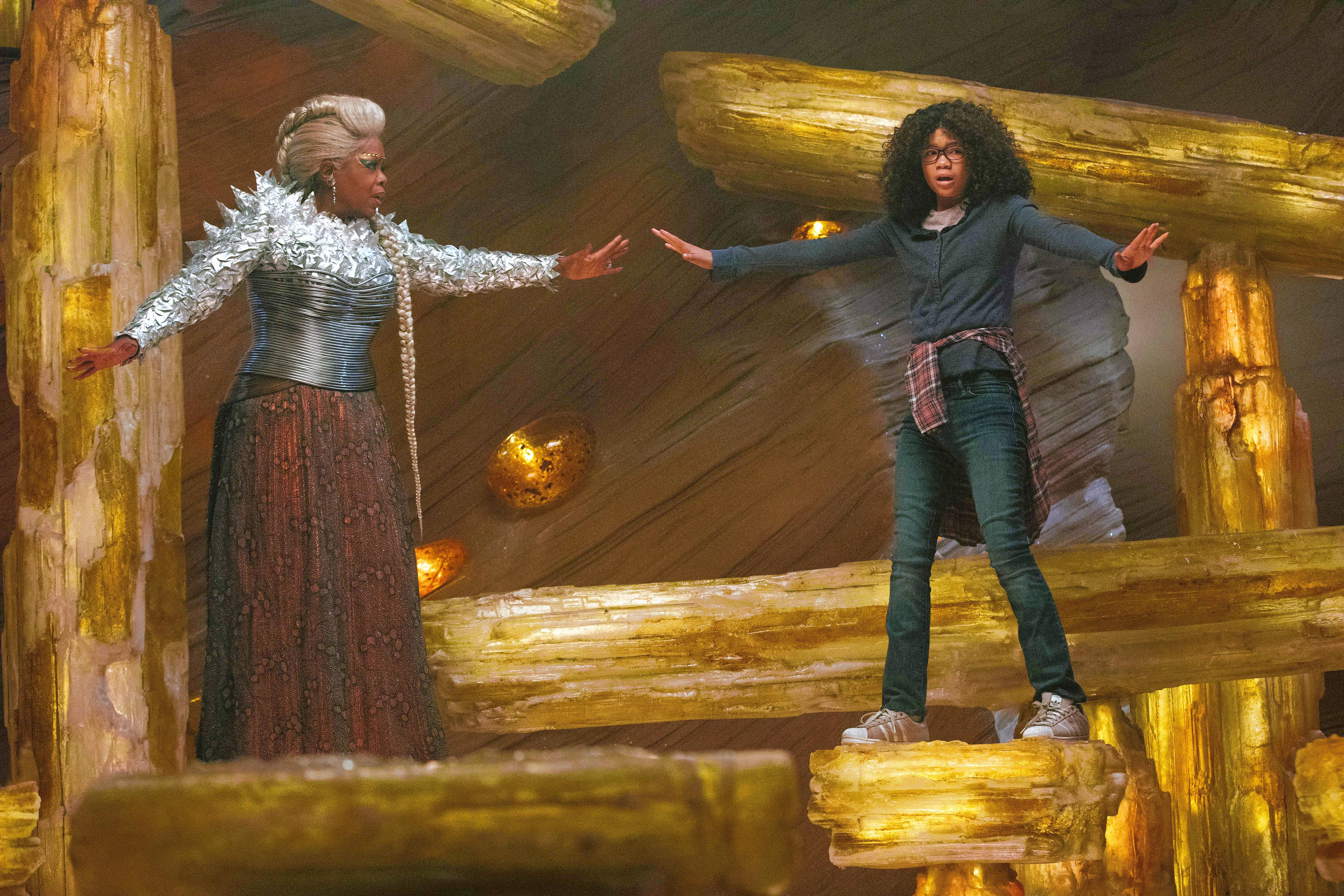 "The magical Mrs. Which (Oprah Winfrey) tries to guide young Meg (Storm Reid) through her arduous adventure in Ava DuVernay's ""A Wrinkle in Time."""