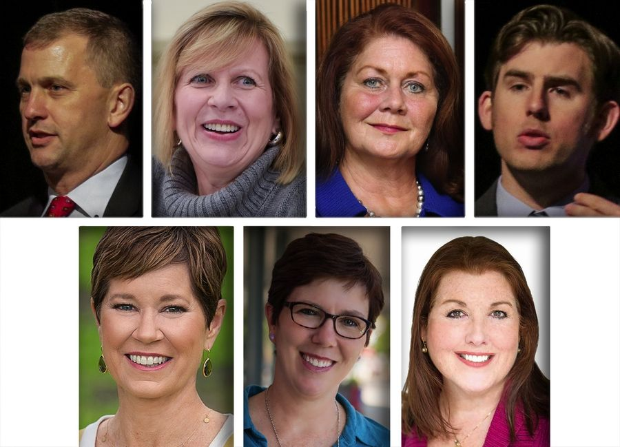 Democrats for U.S. Congress in the 6th District shared ideas for how to decrease the prevalence of sexual harassment during a recent forum in Glen Ellyn. The candidates are, top row, Sean Casten, Carole Cheney, Amanda Howland and Ryan Huffman and, bottom row, Kelly Mazeski, Becky Anderson Wilkins and Jennifer Zordani.
