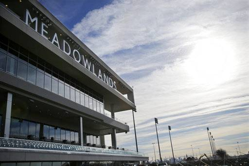 "FILE - In this Nov. 20, 2013, file photo, letters spell out Meadowlands over top the new grandstand at the race track in East Rutherford, N.J. The CEO of Meadowlands, Jeff Gural, has been among the leaders in harness racing in trying to curb doping. Meadowlands revealed that Tag Up and Go had tested positive for EPO in 2016. The Tag Up and Go doping case emerged through one of his initiatives, establishing ""out of competition"" drug testing, which means horses can be subject to testing at any time, on the track or off."