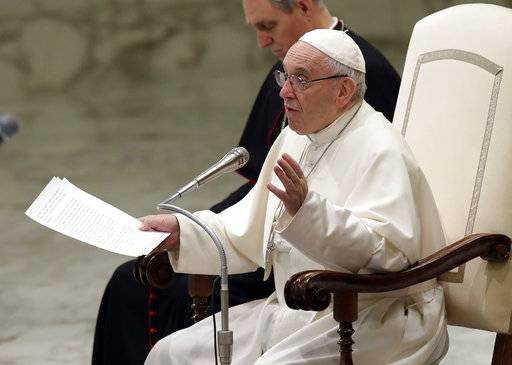 Pope Francis talks during the weekly general audience in the Paul VI Hall at the Vatican, Wednesday, March 7, 2018.