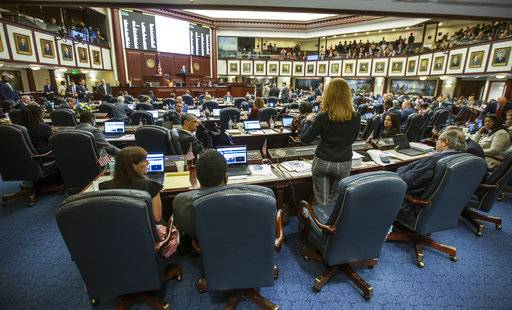 Florida Rep. Kristin Diane Jacobs, speaks on the gun safety bill in the House chamber at the Florida Capital in Tallahassee, Fla., Wednesday, March 7, 2018.