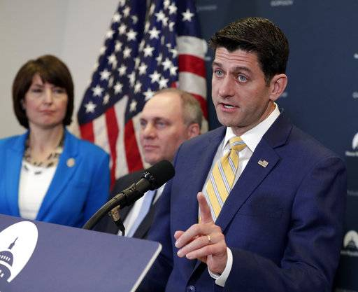 Speaker of the House Paul Ryan, R-Wis., joined from left by, Rep. Cathy McMorris Rodgers, R-Wash., and House Majority Whip Steve Scalise, R-La., meets with reporters following a closed-door Republican strategy session on Capitol Hill as they face how to deal with President Donald Trump's impending trade tariffs, in Washington, Tuesday, March 6, 2018. President Donald Trump isn't budging on his international tariff stance so far despite remarkably public pleadings from Speaker Ryan and other Republican allies to back off his threat and avoid a possible trade war.