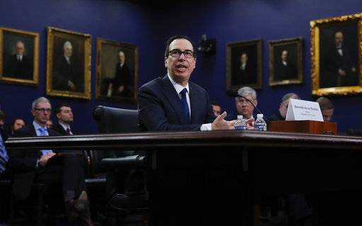 "Treasury Secretary Steven Mnuchin testifies during a hearing before the House Appropriations subcommittee on budget on Capitol Hill in Washington, Tuesday, March 6, 2016, about ""Financial Services and General Government."""