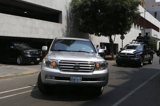 A convoy transporting White House envoy Jared Kushner leaves the Foreign Ministry and heads to the presidential residence Los Pinos, in Mexico City, Wednesday, March 7, 2018. The senior White House adviser and presidential son-in-law was meeting with Mexico's president and foreign minister Wednesday amid heightened tensions over the border wall and trade.