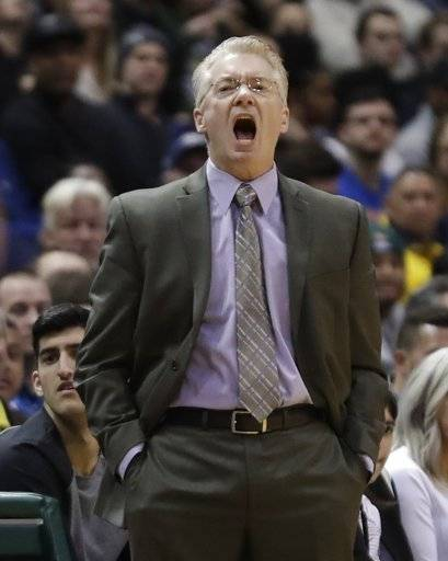 Milwaukee Bucks head coach Joe Prunty reacts during the first half of an NBA basketball game against the Houston Rockets Wednesday, March 7, 2018, in Milwaukee.