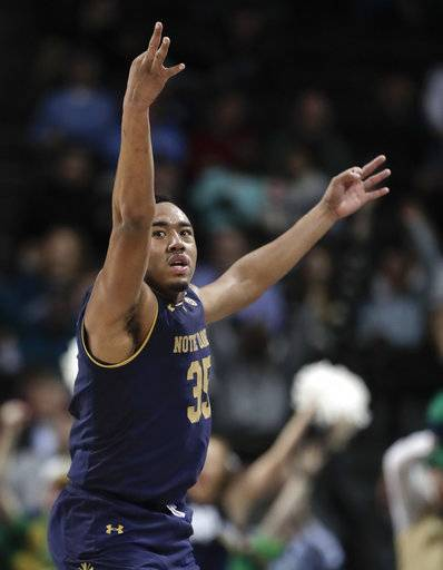 Notre Dame forward Bonzie Colson reacts after hitting a 3-point shot against Virginia Tech during the second half of an NCAA college basketball game in the second round of the Atlantic Coast Conference men's tournament Wednesday, March 7, 2018, in New York. Notre Dame won 71-65.