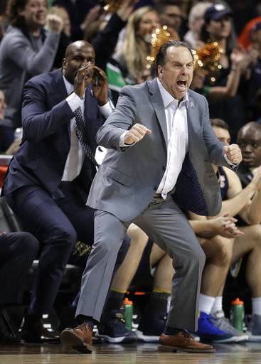 Notre Dame coach Mike Brey reacts during the second half of the team's NCAA college basketball game against Virginia Tech in the second round of the Atlantic Coast Conference men's tournament Wednesday, March 7, 2018, in New York. Notre Dame won 71-65.
