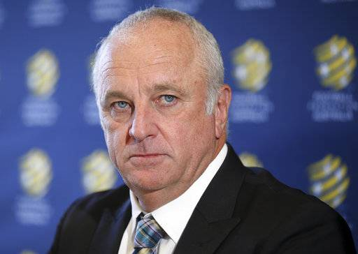Graham Arnold attends a press conference where he will sign a four-year contract to coach the Australian national soccer team in Sydney, Thursday, March 8, 2018. Arnold, current coach of A-League champions Sydney FC, will replace Dutchman Bert van Marwijk after the World Cup in Russia.