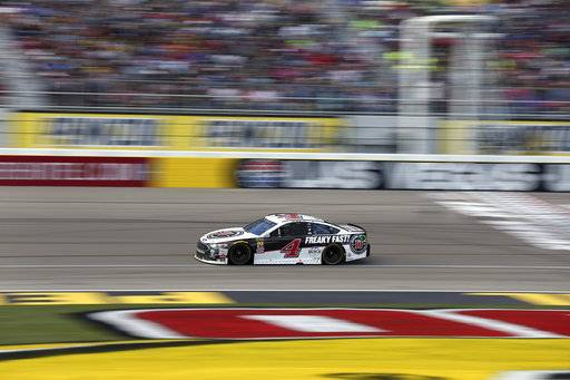 Kevin Harvick drives during a NASCAR Cup series auto race, Sunday, March 4, 2018, in Las Vegas.