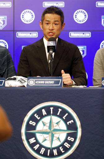 Seattle Mariners' Ichiro Suzuki speaks at a news conference at the teams' spring training baseball complex Wednesday, March 7, 2018, in Peoria, Ariz. Suzuki signed a one year deal in his return to the Mariners.