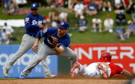 Los Angeles Angels' Mike Trout steals second past Los Angeles Dodgers second baseman Logan Forsythe during the fifth inning of a spring baseball game in Tempe, Ariz., Wednesday, March 7, 2018.
